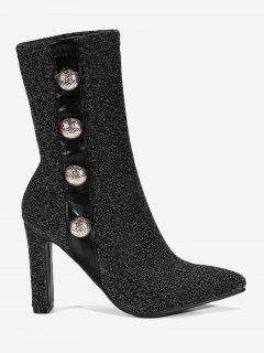 Point Toe High Heel Faux Pearl Ankle Boots - Silver 36