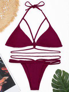 Shiny Plaited Strappy Banded Bikini Set - Dark Red Xl