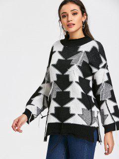 Pullover Kontrastpfeil Quasten Pullover - Schwarz