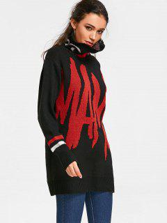 Graphic Oversized Turtleneck Sweater - Black