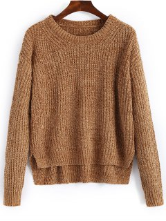 Side Slit Pullover High Low Sweater - Light Brown