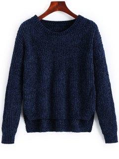Suéter De Hendidura Lateral Suéter Alto Bajo - Azul Purpúreo