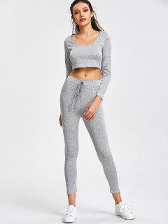 Hooded Cropped Top And Sports Drawstring Pants - Gray L