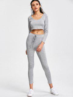 Pantalones Cortos Con Capucha Y Pantalones Deportivos Con Cordones - Gris L