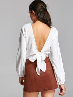 Open Back Choker Wrap Croppep Top - White M