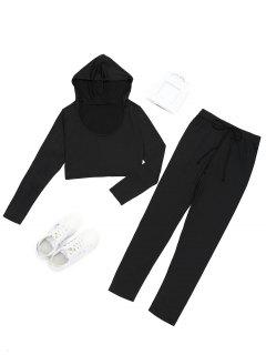 Hooded Cropped Top And Sports Drawstring Pants - Black M