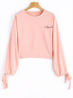 Drawstring Sleeve Letter Cropped Sweatshirt - Pink L