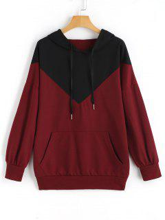 Drawstring Loose Two Tone Hoodie - Wine Red L
