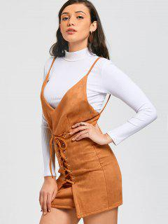 Faux Suede Lace Up Pinafore Mini Dress - Light Brown L