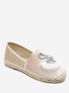 Swan Crystal Faux Fur Velvet Espadrille Flats - Apricot 36