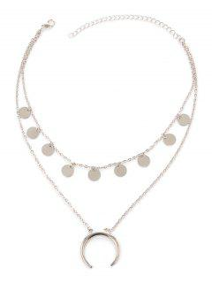 Moon Disc Layered Tribal Necklace - Silver