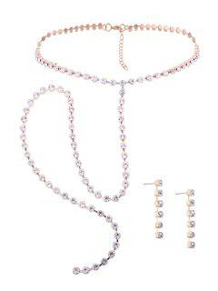 Alloy Rhinestone Necklace With Earring Set - Golden
