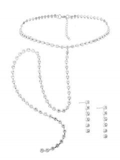 Alloy Rhinestone Necklace With Earring Set - Silver