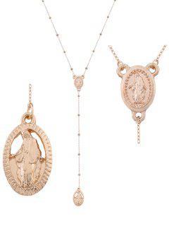 Engraved Goddess Oval Pendant Necklace - Golden