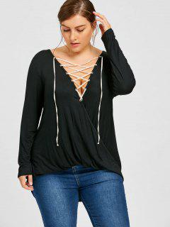 Plus Size Crossover Lace Up Top - Black 2xl