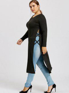 Lattice High Slit Plus Size Maxi Top - Black 3xl