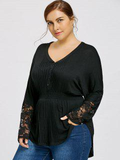 Lace Panel Plus Size V-neck Pleated Blouse - Black 2xl