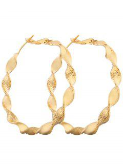 Metal Alloy Circle Hoop Earrings - Golden