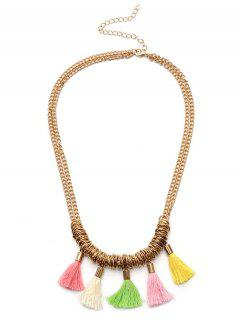 Tassel Metal Chain Collarbone Necklace - Golden