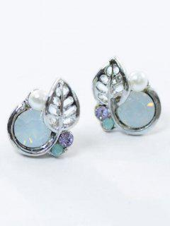 Rhinestone Faux Pearl Leaf Tiny Stud Earrings - Silver