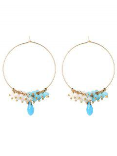 Circle Beaded Hoop Earrings - Golden