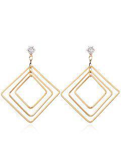 Pendientes Geométricos De Metal De Diamantes De Imitación - Dorado