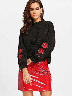 Slit Mock Neck Floral Embroidered Sweatshirt - Black M