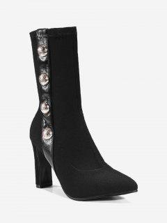 Point Toe High Heel Faux Pearl Ankle Boots - Black 36