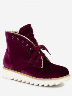 Lace Up Stacked Heel Velvet Boots - Wine Red 38