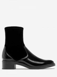 Chunky Heel Velvet Panel Ankle Boots - Black 35