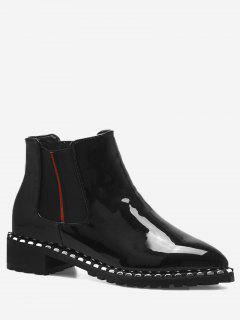 Rivets Low Heel Elastic Band Boots - Black 38