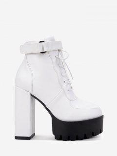 Lug Sole Faux Leather Ankle Boots - White 35