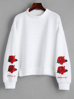 Slit Mock Neck Floral Embroidered Sweatshirt - White Xl