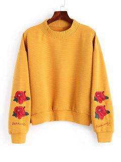 Slit Mock Neck Floral Embroidered Sweatshirt - Mustard L