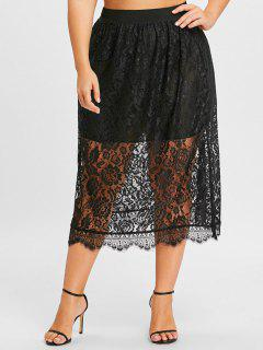 Plus Size Lace Midi Skirt - Black 2xl