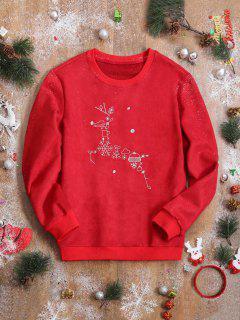 Suede Christmas Reindeer Sweatshirt - Red L