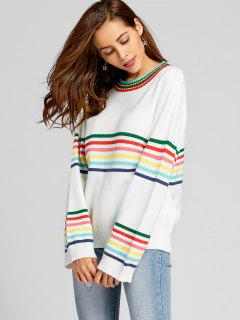 Oversized Striped Pullover Sweater - White