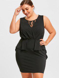 Plus Size Lace Trim Sleeveless Sheath Dress - Black 4xl