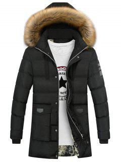 Faux Fur Collar Pockets Zip Up Down Coat - Black 2xl