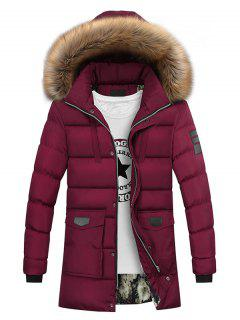 Faux Fur Collar Pockets Zip Up Down Coat - Wine Red Xl