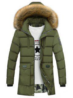 Faux Fur Collar Pockets Zip Up Down Coat - Army Green Xl
