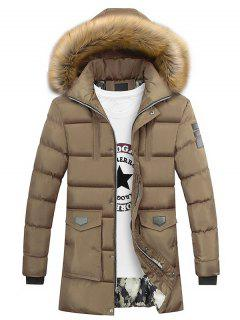 Faux Fur Collar Pockets Zip Up Down Coat - Camel Xl