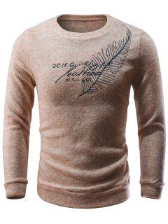 Feather Embroidery Crew Neck Sweater - Apricot S