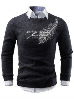 Feather Embroidery Crew Neck Sweater - Black S