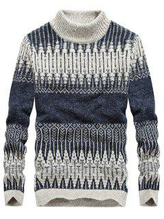 Jacquard Mock Neck Pullover Sweater - Stone Blue Xl