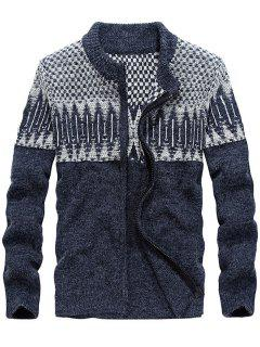 Color Block Jacquard Sweater Cardigan - Blue 2xl