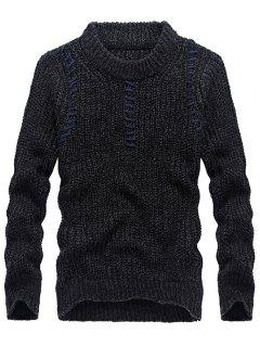 Jacquard Pullover Crew Neck Sweater - Black 3xl