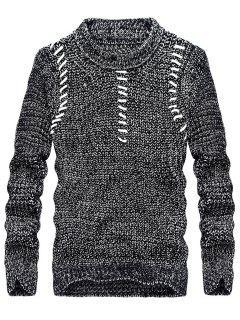 Suéter Con Cuello Redondo En Jacquard Pullover - Gris Oscuro 3xl