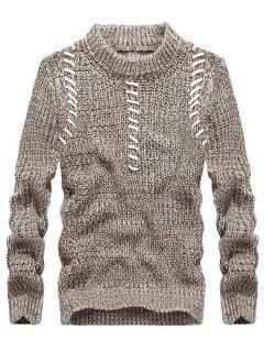 Jacquard-Pullover Mit Rundhalsausschnitt - Khaki 3xl