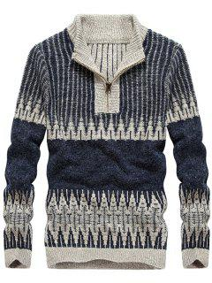 Color Block Jacquard Half Zip Sweater - Stone Blue 3xl